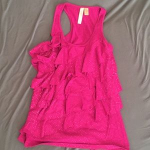 Eyeshadow Pink Ruffle Tank Top